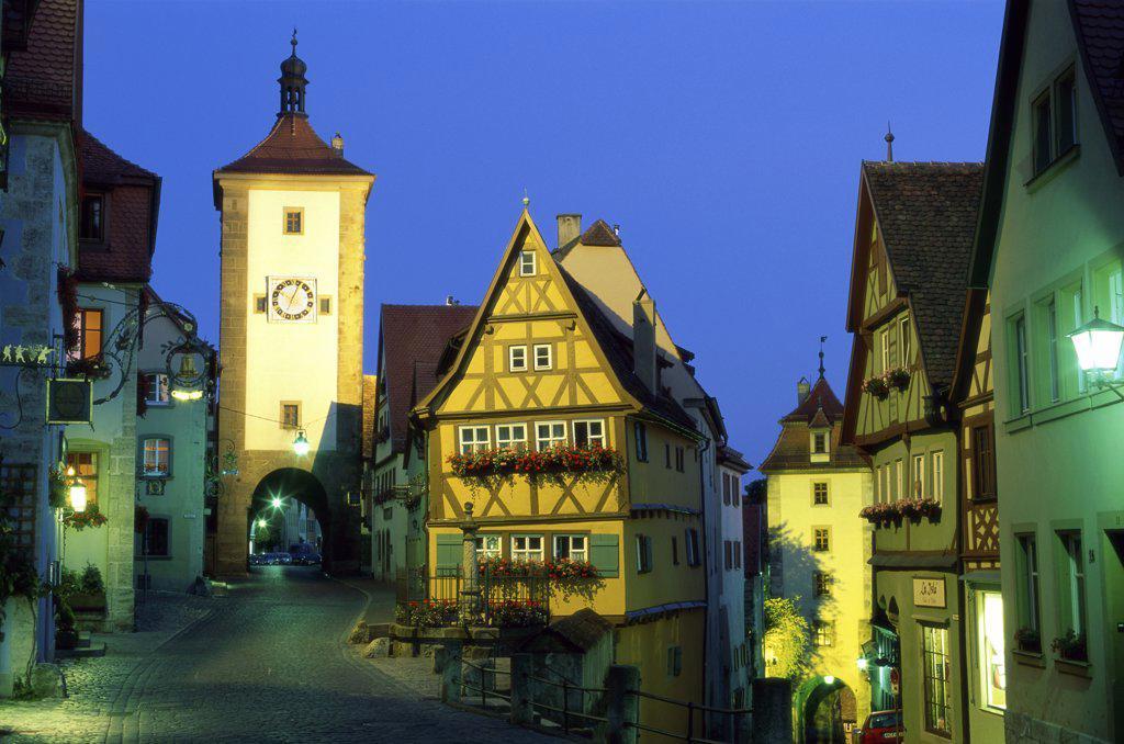 Road passing through a city, Rothenburg ob der Tauber, Bavaria, Germany : Stock Photo
