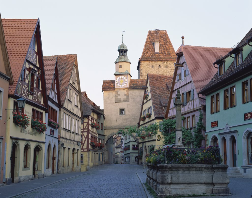 Street passing through a town, Rothenburg ob der Tauber, Bavaria, Germany : Stock Photo