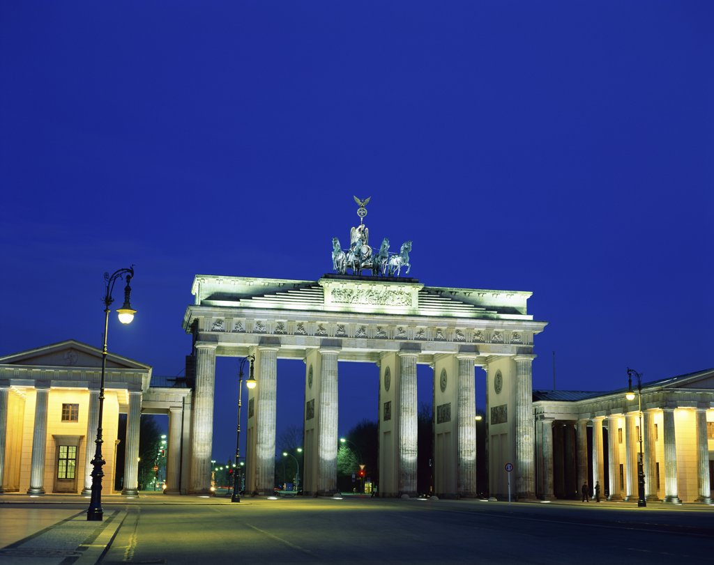 Low angle view of a gate lit up at night, Brandenburg Gate, Berlin, Germany : Stock Photo