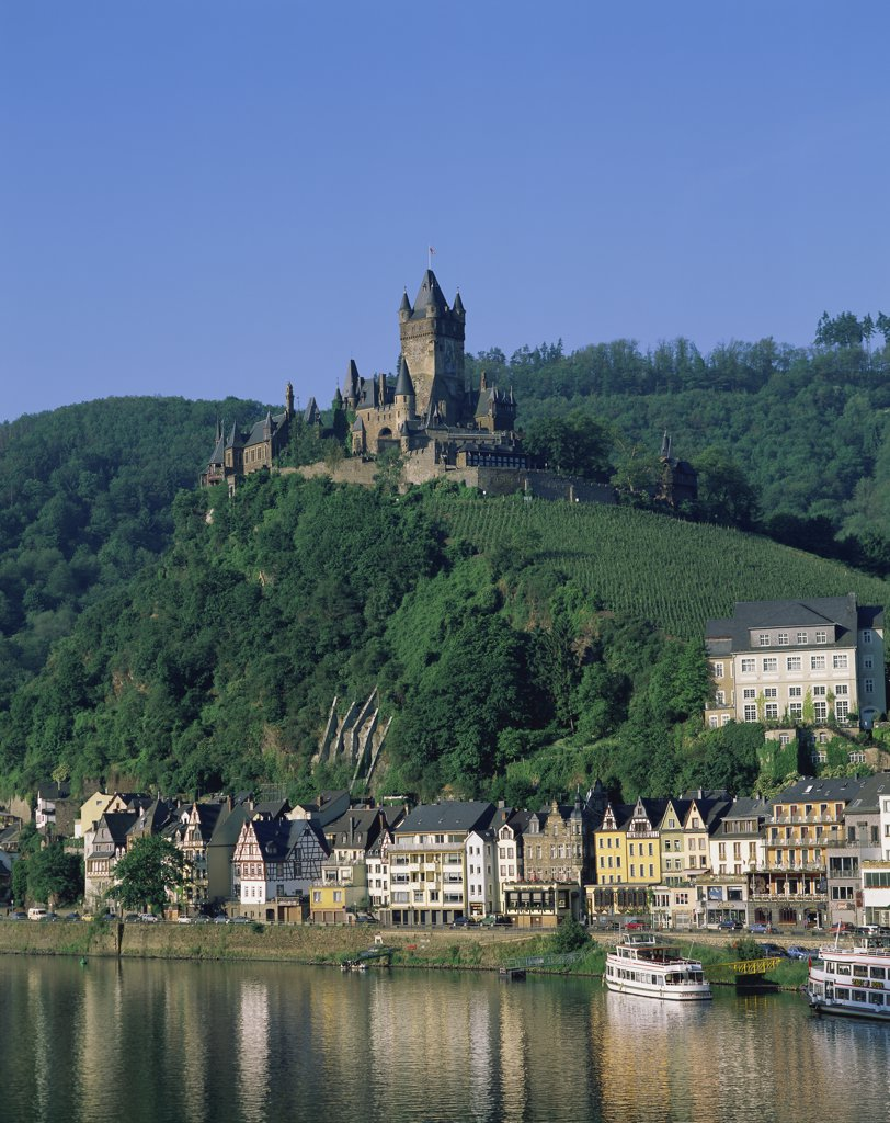 Stock Photo: 1288-1511 Buildings along the river, Moselle River, Cochem, Germany