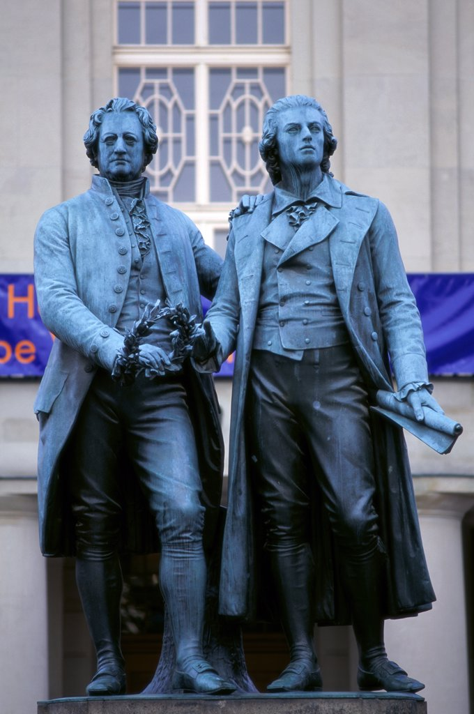 Stock Photo: 1288-1516 Close-up of two statues, Goethe-Schiller Monument, Weimar, Germany