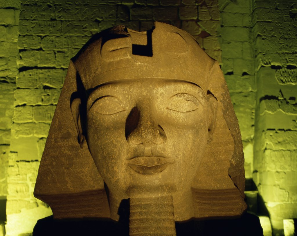 Stock Photo: 1288-153 Close-up of the face of a statue, Ramses II, Temple of Luxor, Luxor, Egypt