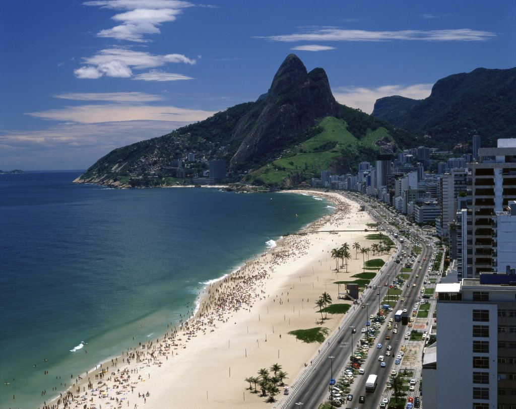 Stock Photo: 1288-1542 Aerial view of tourists on the beach, Ipanema Beach, Rio de Janeiro, Brazil