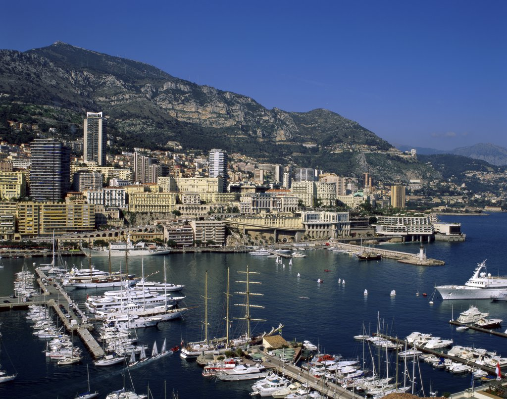Stock Photo: 1288-1681 High angle view of a harbor, Monaco Port, Monte Carlo, Monaco