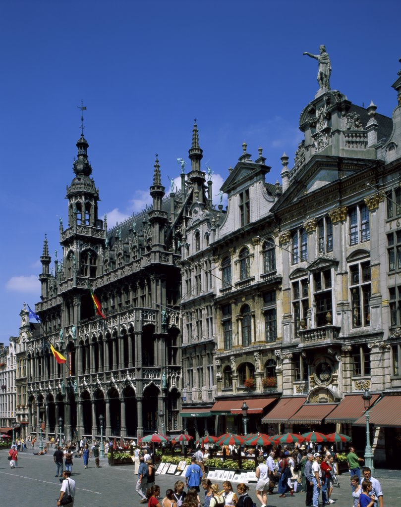 Tourist walking on the street, Grand Place, Brussels, Belgium : Stock Photo