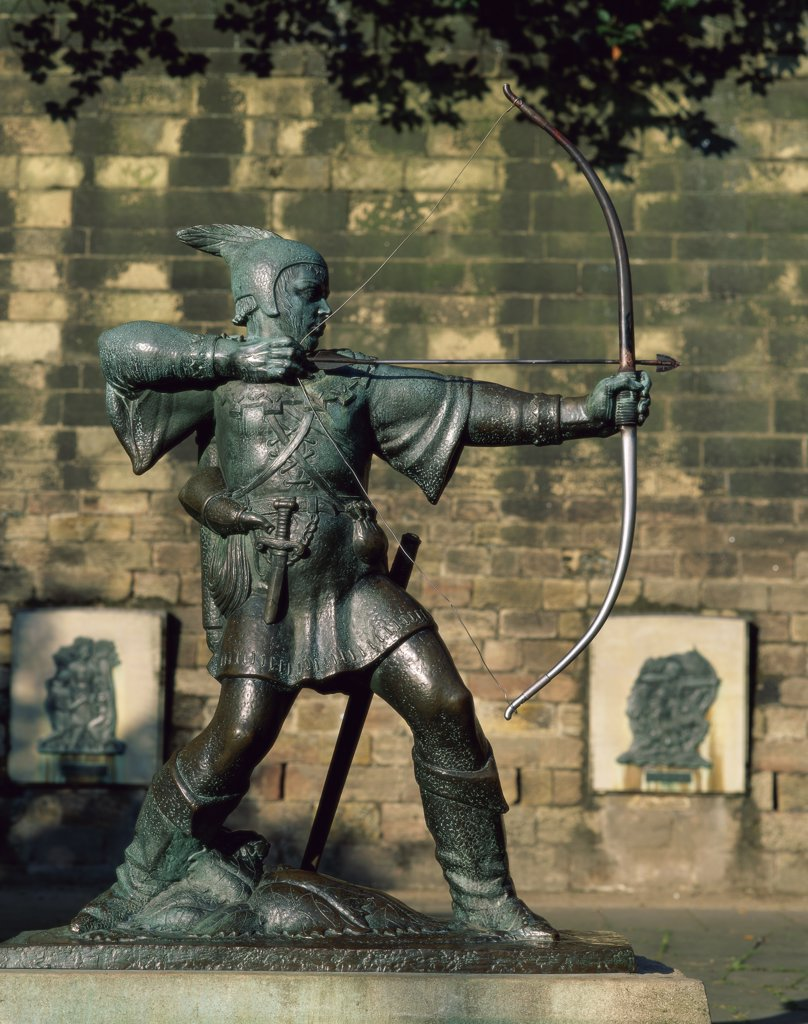 Close-up of a statue, Robin Hood Statue, Nottingham, Nottinghamshire, England : Stock Photo