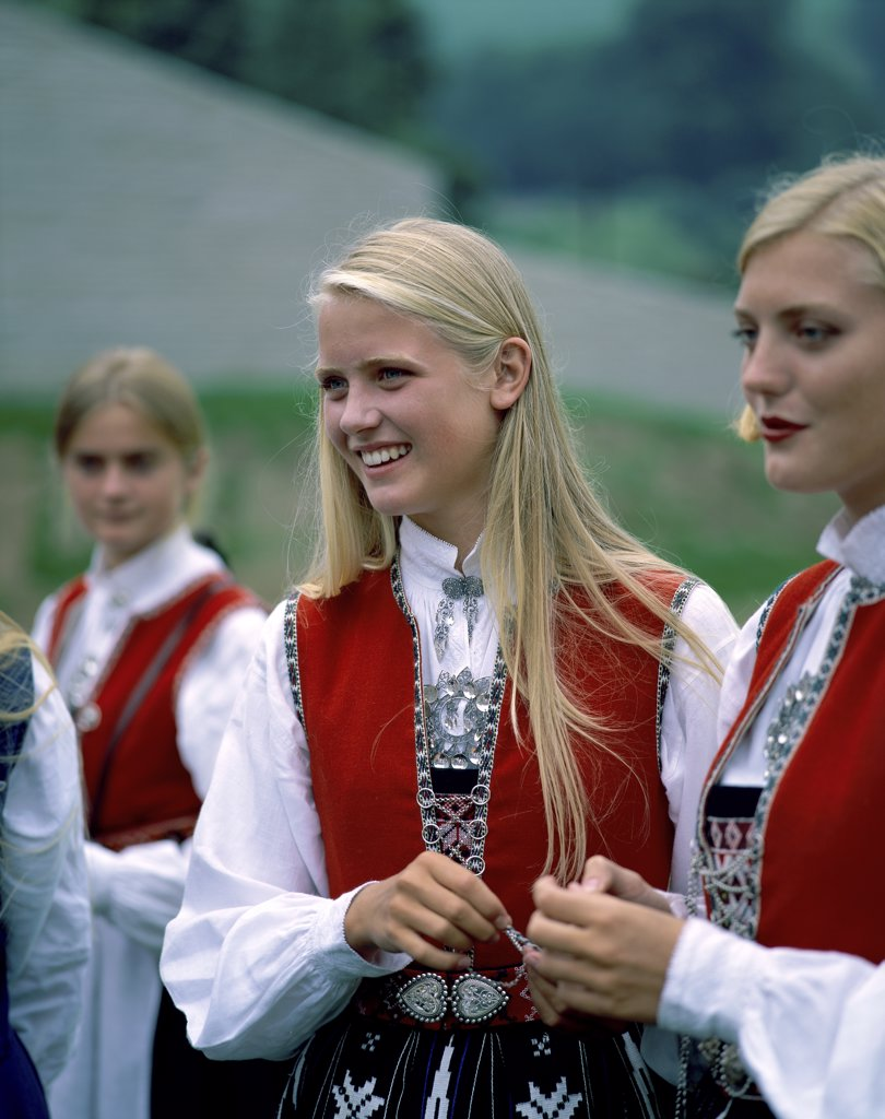 Stock Photo: 1288-1906 Close-up of two young women smiling, Norway