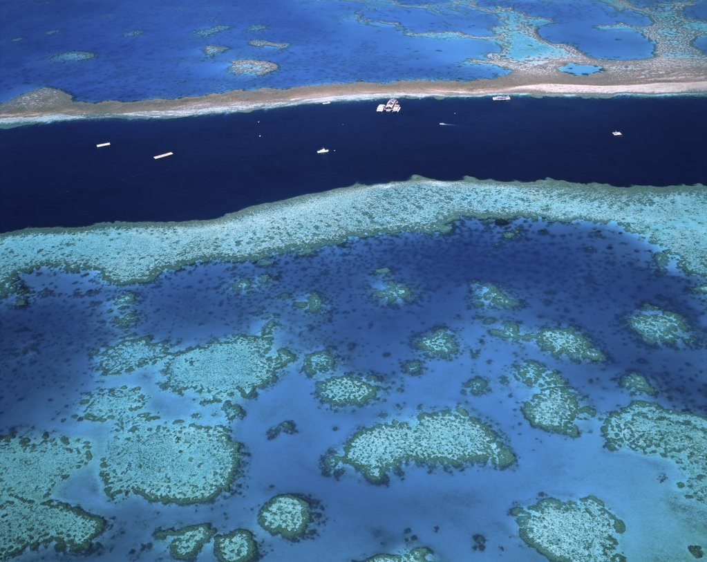 Stock Photo: 1288-390 Aerial view of a coastline, Great Barrier Reef, Australia
