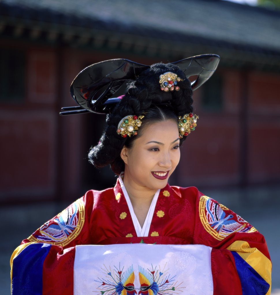 Stock Photo: 1288-405 Close-up of a young woman dressed in traditional wedding clothing, South Korea