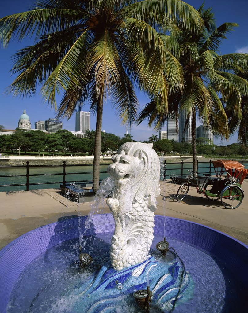 Stock Photo: 1288-414 High angle view of a fountain, Merlion Statue, Merlion Park, Singapore