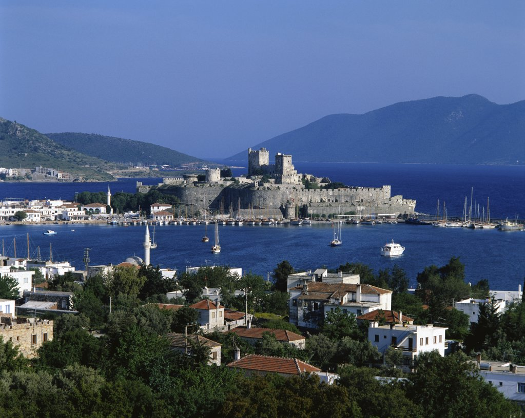 High angle view of a castle on the waterfront, Bodrum, Turkey : Stock Photo