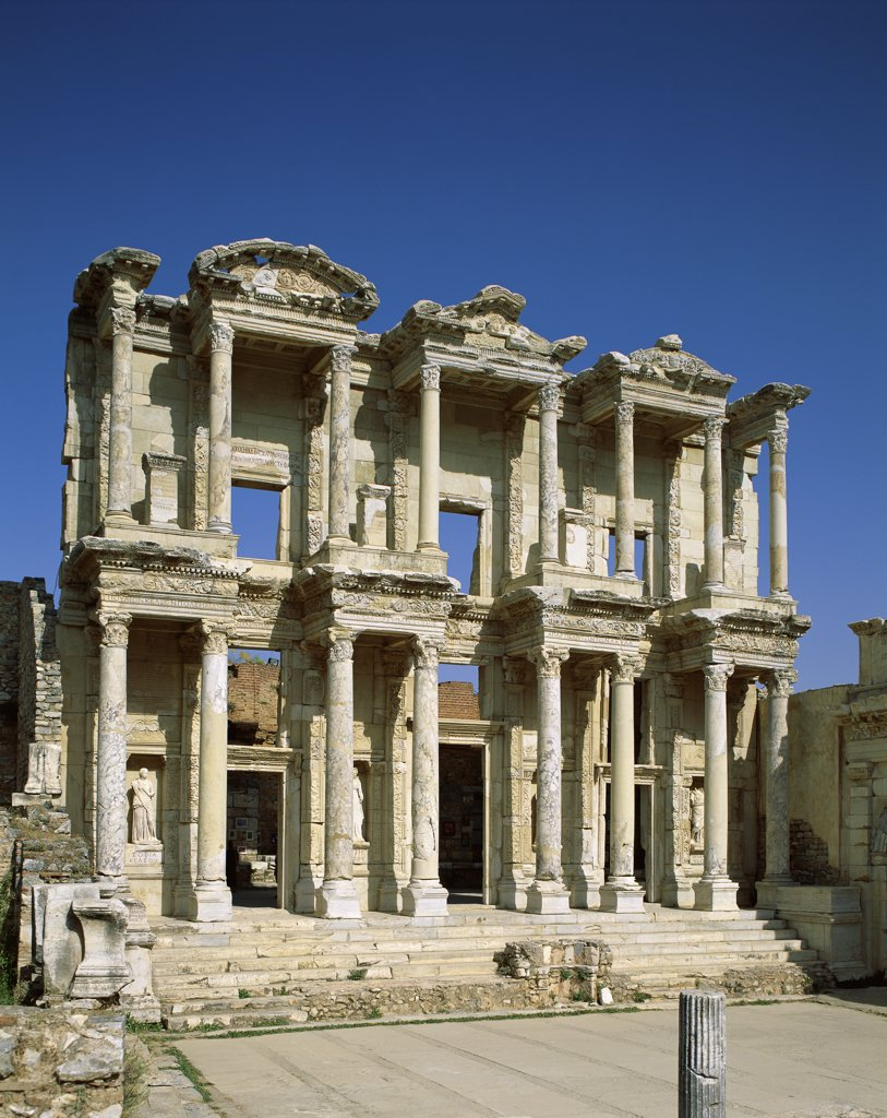 Facade of an ancient building, Library of Celsus, Ephesus, Turkey : Stock Photo