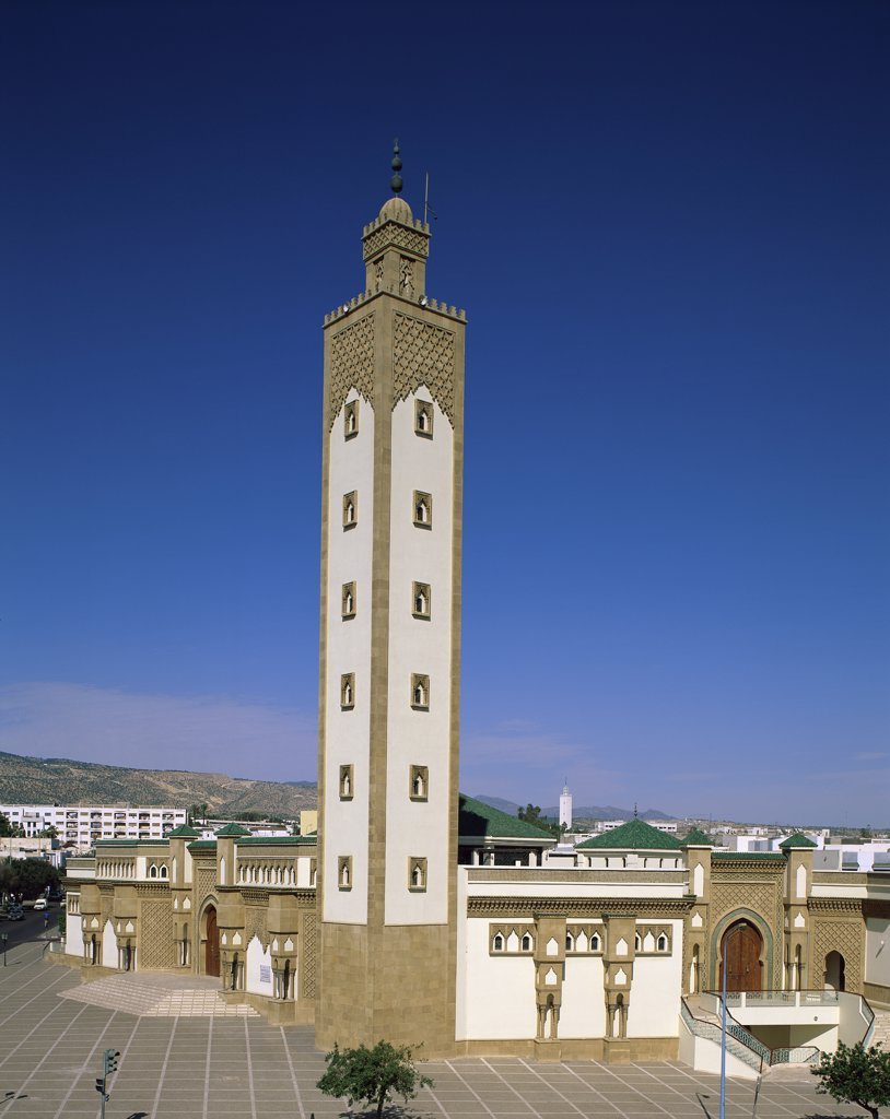 Low angle view of the tower of a mosque, Hassan II Mosque, Casablanca, Morocco : Stock Photo