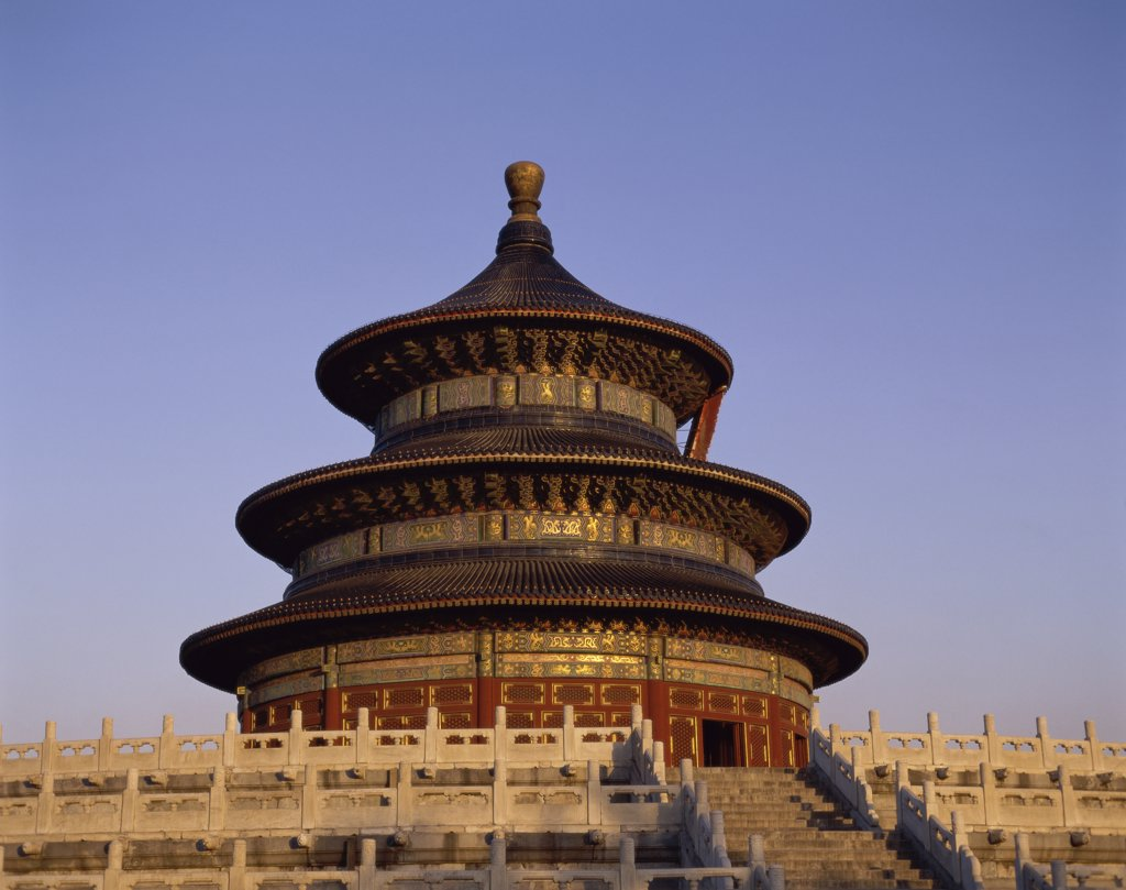 High section view of a temple, Temple of Heaven, Beijing, China : Stock Photo