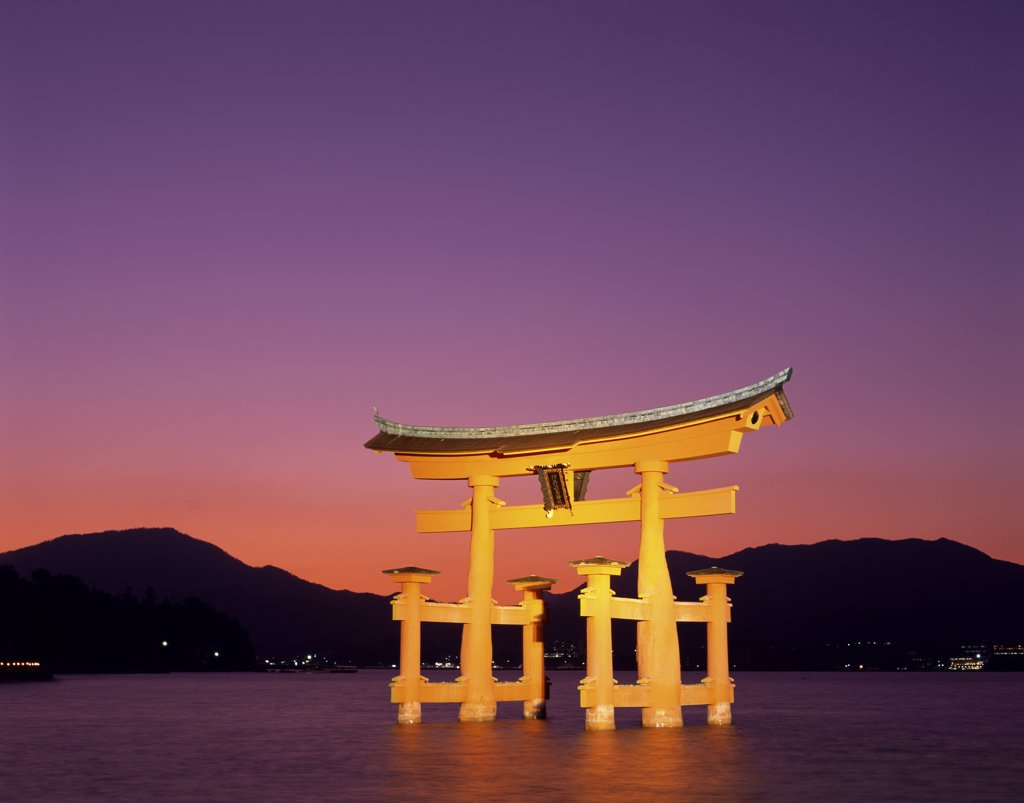 Reflection of a gate in water, Torii Gate, Itsukushima Shrine, Miyajima, Japan : Stock Photo