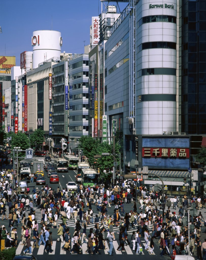 High angle view of a crowd crossing the road, Shibuya, Tokyo, Japan : Stock Photo