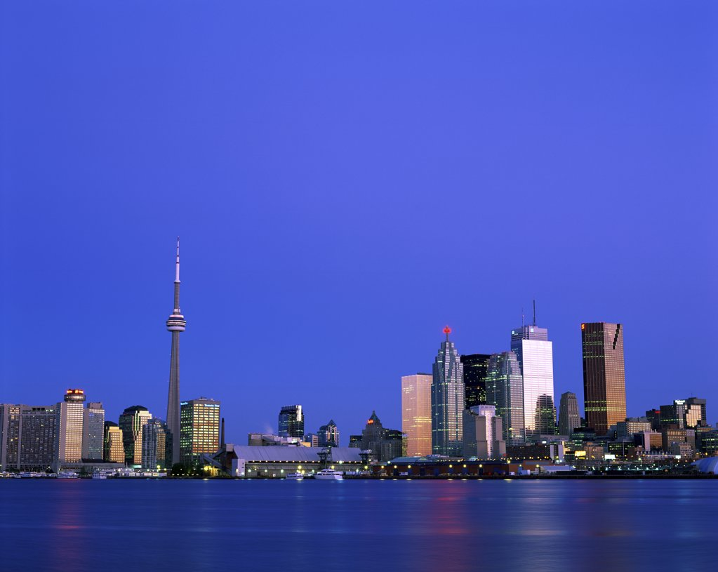 Buildings on the waterfront, CN Tower, Toronto, Ontario, Canada : Stock Photo