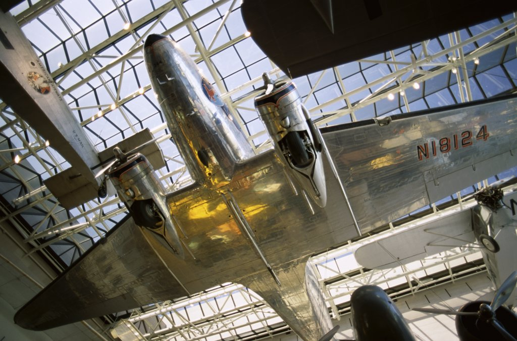 Low angle view of an aircraft displayed in a museum, National Air and Space Museum, Washington DC, USA : Stock Photo