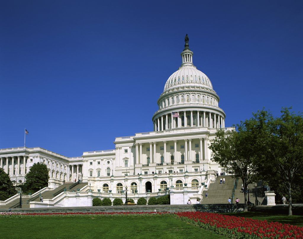 Stock Photo: 1288-776 Low angle view of a government building, Capitol Building, Washington DC, USA
