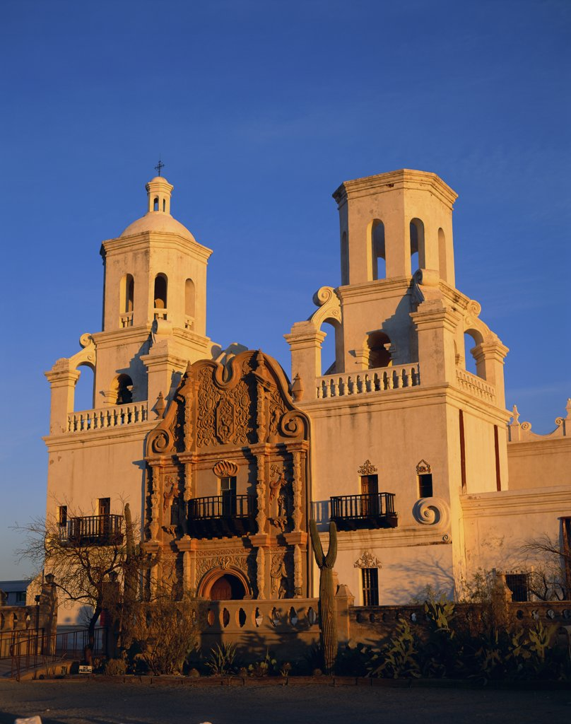 Stock Photo: 1288-918A Facade of a cathedral, Mission San Xavier del Bac, Tucson, Arizona, USA