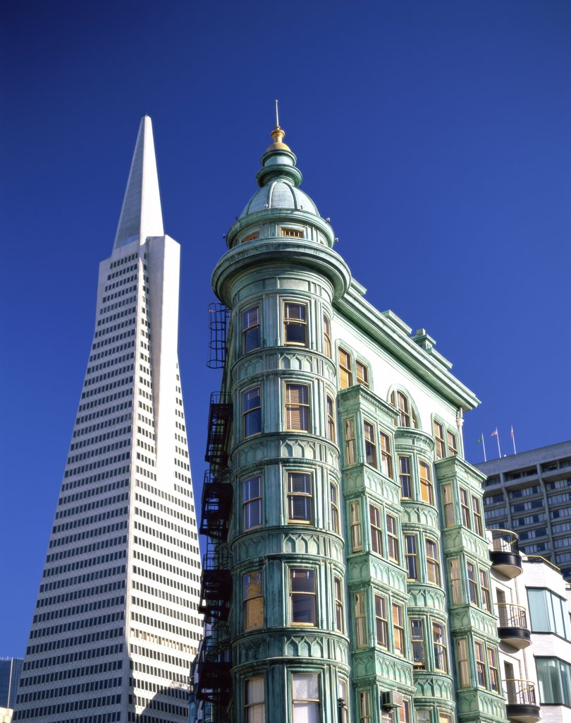 Stock Photo: 1288-984 Low angle view of Transamerica Pyramid and Columbus Tower, San Francisco, California, USA