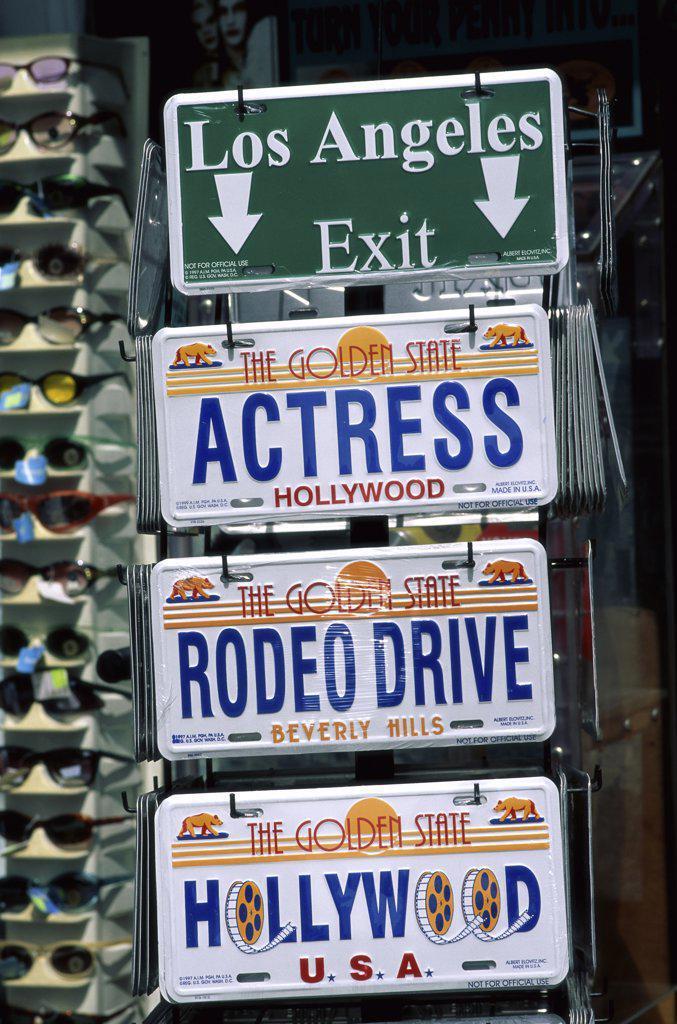 Close-up of license plates and sunglasses, California, USA : Stock Photo