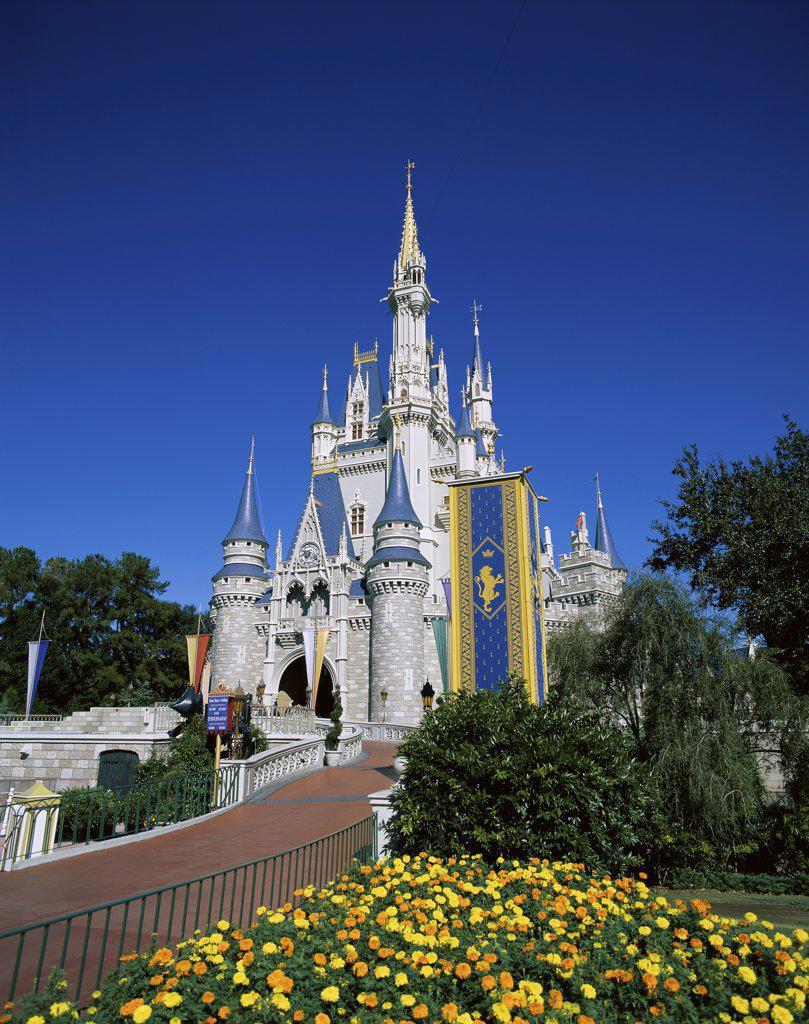 Stock Photo: 1288-W845 Facade of a castle, Cinderella Castle, Magic Kingdom, Walt Disney World, Orlando, Florida, USA