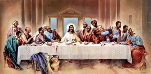Stock Photo: 1294-101 The Black Last Supper 20th C. Joe Cauchi (1918-1986 American)