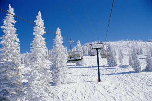 Stock Photo: 1301-348 Ski lift over a polar landscape, Steamboat Springs, Colorado, USA