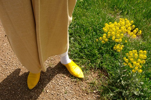 Stock Photo: 1301-563 Low section view of a man standing in a field of wildflowers, Atlas Mountains, Morocco