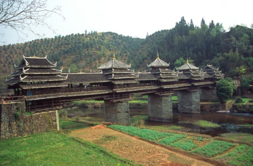 Ancient bridge, Chengyang, China : Stock Photo