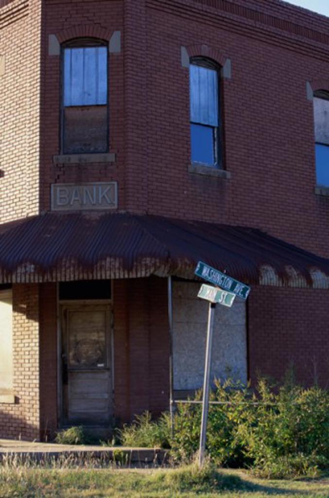 An abandoned bank building at Kansas, USA : Stock Photo