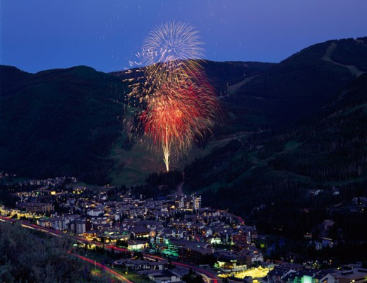 High angle view of a city lit up at dusk, Vail, Colorado, USA : Stock Photo