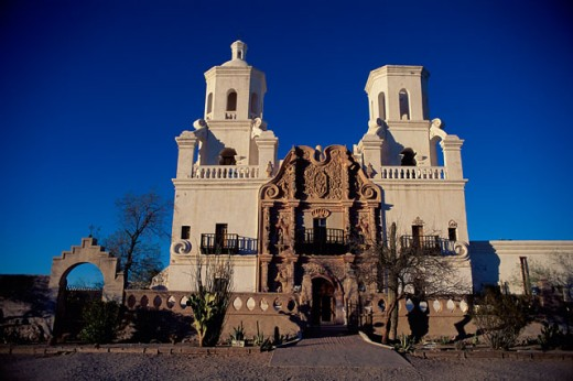 Stock Photo: 1308-539 Facade of a church, Mission San Xavier del Bac, Tucson, Arizona, USA