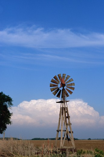 Stock Photo: 1308-542 Industrial windmill on a landscape, Kansas, USA