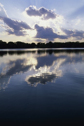 Stock Photo: 1308R-201A Reflections of clouds on a lake, Kansas, USA