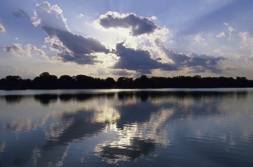 Stock Photo: 1308R-201B Reflections of clouds on a lake, Kansas, USA