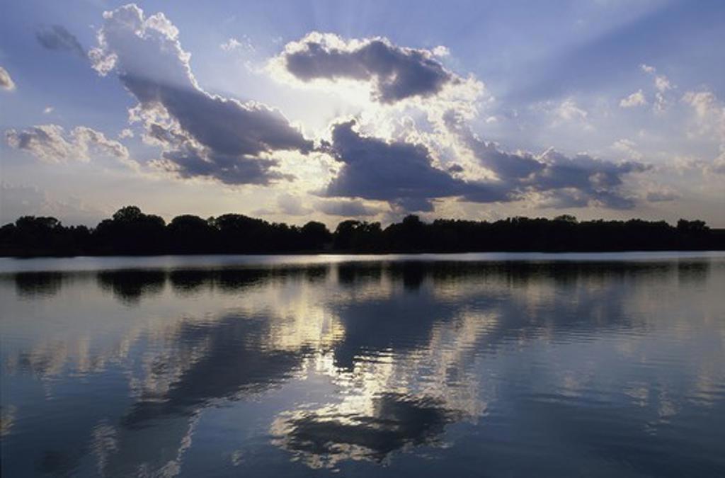 Reflections of clouds on a lake, Kansas, USA : Stock Photo