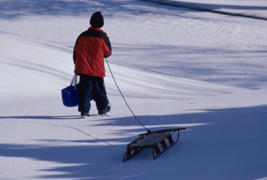 Stock Photo: 1308R-279 Rear view of a boy pulling a sled