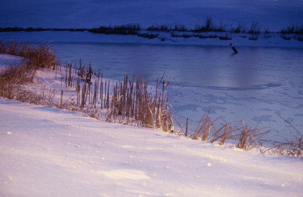 Frozen lake at Barber, Kansas, USA : Stock Photo
