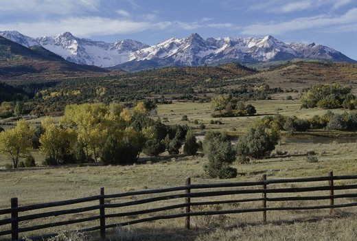 Stock Photo: 1308R-441 Wooden fence in a field, Jackson Hole, Wyoming, USA