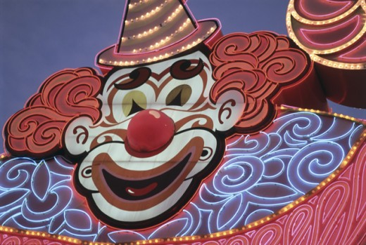 Stock Photo: 1311-1087 Close-up of a neon clown's face at a casino, Circus Circus, Las Vegas, Nevada, USA