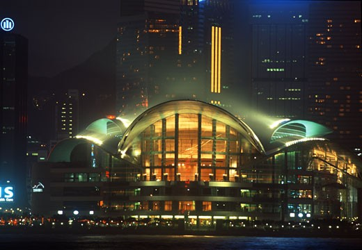 Stock Photo: 1311-1215 China, Hong Kong, Convention Center at night