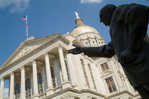 Low angle view of a statue in front of a government building, State Capitol, Atlanta, Georgia, USA : Stock Photo