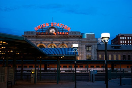 Stock Photo: 1311-1707 Railroad station lit up at night, Union Station, Denver, Colorado, USA