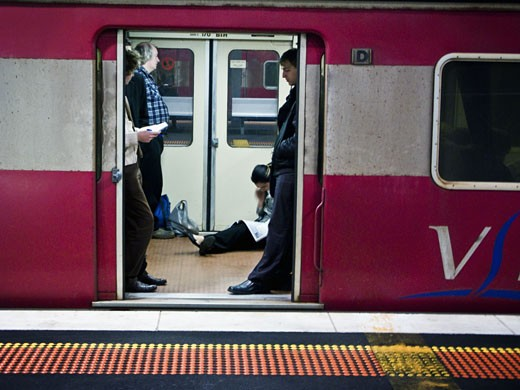 Passengers in a subway train, Melbourne, Victoria, Australia : Stock Photo