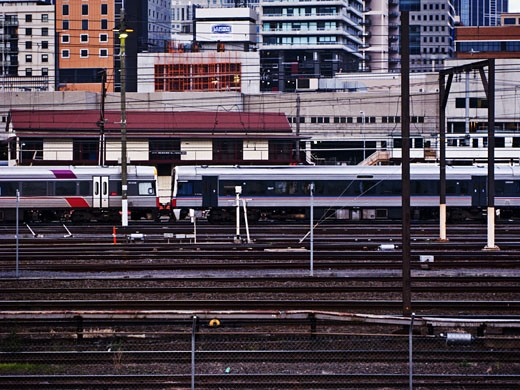 Train on railroad tracks, Southern Cross Station, Melbourne, Victoria, Australia : Stock Photo