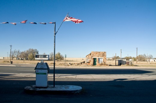 Gas station at the roadside, Encino, New Mexico, USA : Stock Photo