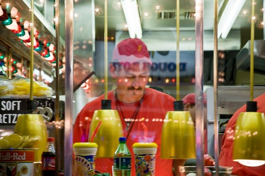 People working in a restaurant, New Mexico State Fair, Tijeras, Albuquerque, New Mexico, USA : Stock Photo