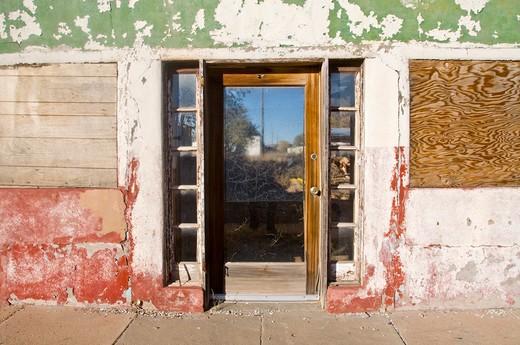 Facade of an old house, Encino, New Mexico, USA : Stock Photo
